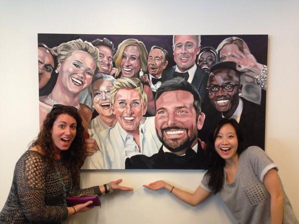 The Oscars selfie is now a painting on the wall at Twitter headquarters http://t.co/79KKRWbB1r