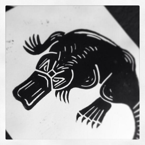 lucy pank on twitter second lino print for my bestiary frankensteins beaver aka the platypus print bestiary childrensbook httptcoz2wbvhpbof