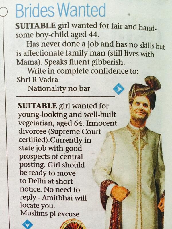 "Genius ""@shunalishroff: Brides Wanted:Courtesy Aakar Patel from Mumbai Mirror. Hilarious. http://t.co/w8IdzqgPXL"""