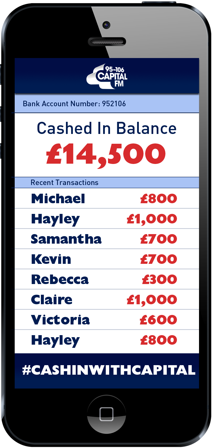 Congrats Michael! £800 just for listening to Capital! Bassman has your next chance to win from 1! #CashInWithCapital http://t.co/MUmBXsJBpg