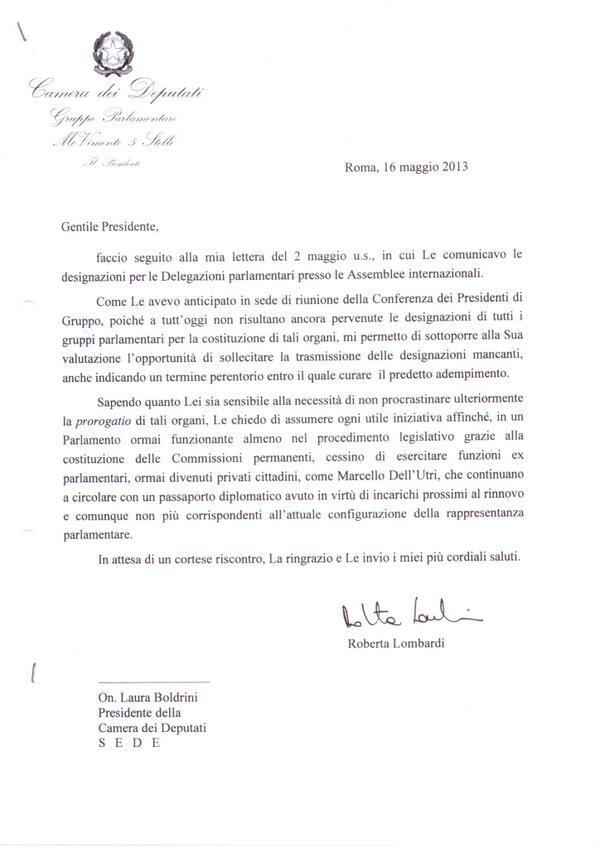 #trovadellutri Il #m5s aveva chiesto di togliergli il passaporto diplomatico, quasi un anno fa! Lettera Boldrini: http://t.co/2ilThHyTYd