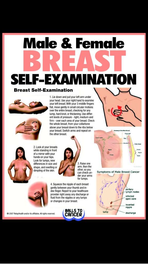 """@Ballstocancer: Ladies and gents here's how to check your boobs and moobs http://t.co/x8etEUyVCt"" if in doubt check it out. X"