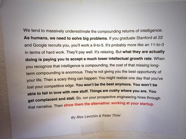 "Absolute gold!   ""We tend to massively underestimate the compounding returns of intelligence"" http://t.co/nsxTelLLUq"