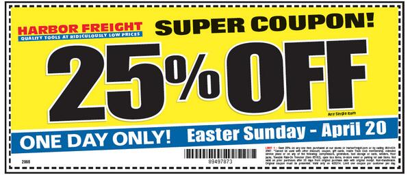Free gift coupon harbor freight