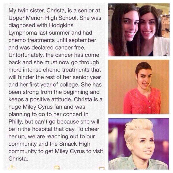 My son asked me to post this in hopes that @MileyCyrus will read this.1of his high school friends. #MileyVisitChrista http://t.co/i1iTVoVHPJ