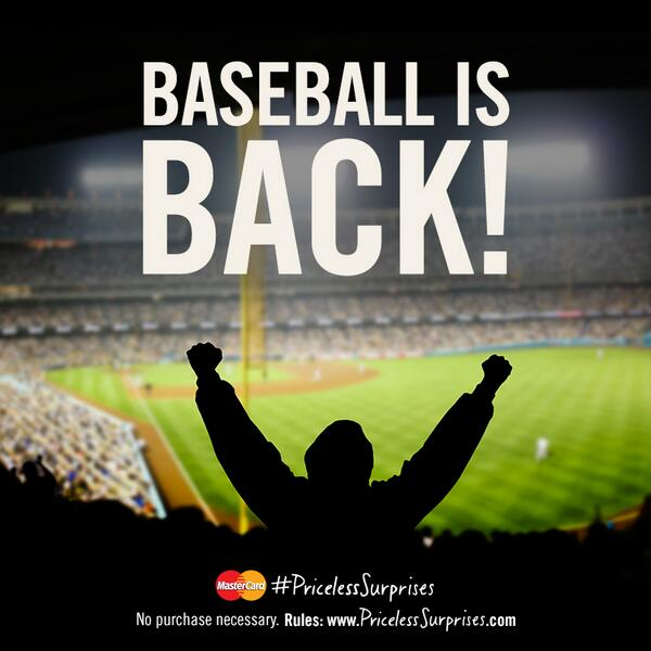 Baseball fans, today is the day! Tag your tweets w/ #PricelessSurprises AND #OpeningDay & you could get a surprise. http://t.co/IOkAN2Hpjr