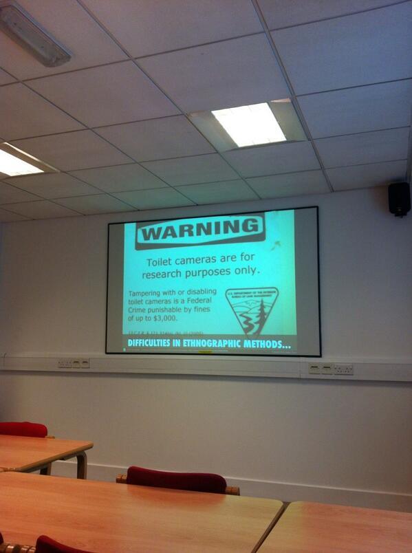 Nice if unsettling slide. Taking ethnography too far? #UKAnthroLib http://t.co/02ATdWozld