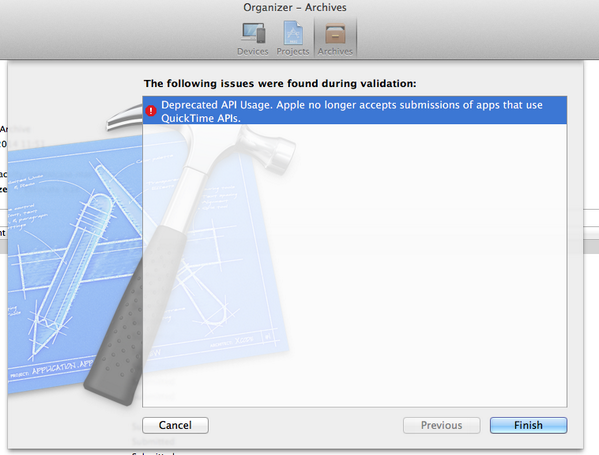 Nice. Apparently QuickTime is no longer supported in Mac App Store apps. I have some work to do. http://t.co/dapR68itKm