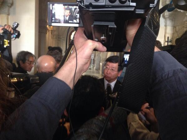 Japan's spokesperson addresses the media after the World Court decision http://t.co/4TECt1P0AP