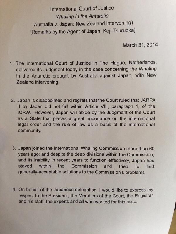 Japan's statement following the historic decision of the World Court to end its Antarctic whaling #whaling #ifaw #icj http://t.co/IORORBPfws