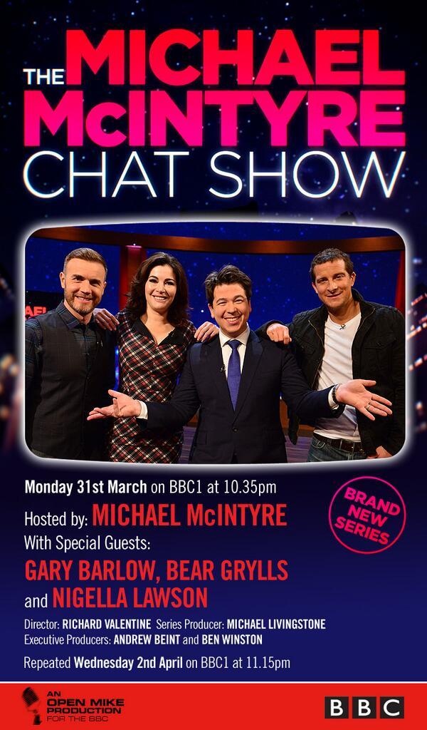 Join Michael tonight @BBCOne 10.35pm with @GaryBarlow, @BearGrylls & @Nigella_Lawson #TheMichaelMcIntyreChatShow http://t.co/ZTeFh6WR5d