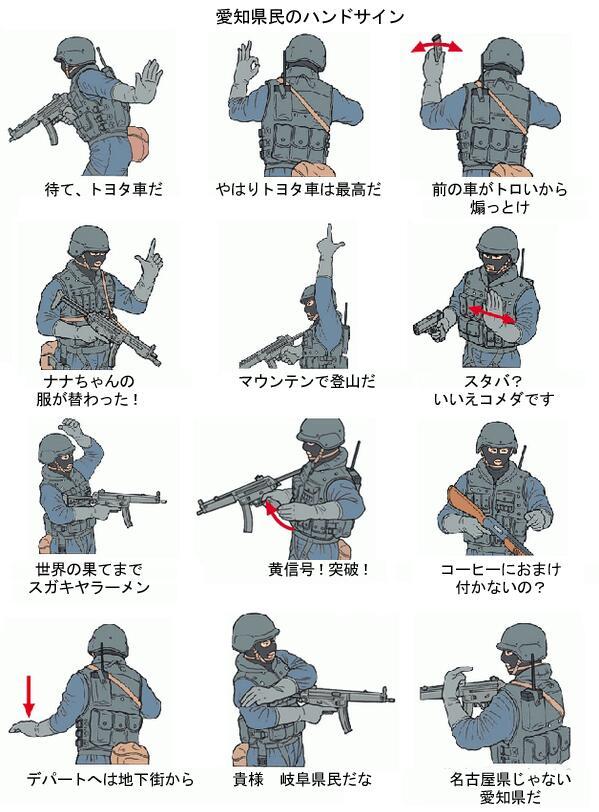 愛知県民のよく使うハンドサイン一覧 pic.twitter.com/PKEuktfn5w