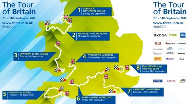 Here's the full route for the 2014 Tour of Britain. Will you ride out to watch any stages? http://t.co/m2DBSNAM3i