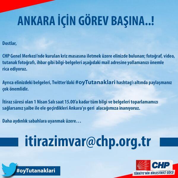 Elinizdeki belge ve tutanakları #OyTutanakları etiketiyle twitter'da ve itirazimvar@chp.org.tr adresinde paylaşın. http://t.co/GbG19yZIC9