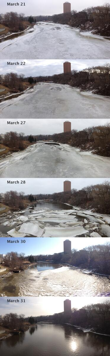 I've been taking photos of the Milwaukee River as it thaws. You can see the dramatic changes in the last 2 days. http://t.co/PIMXAQFcd0