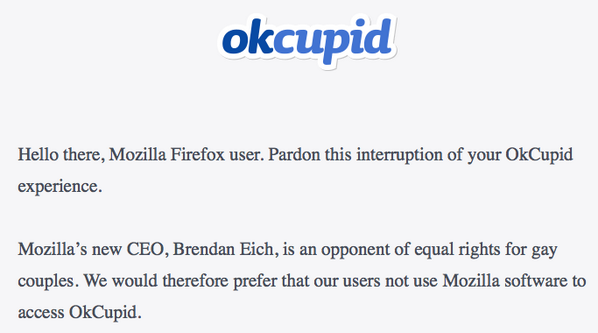 Meanwhile, the Firefox boycott begins:  https://t.co/tRJvZUFDdW http://t.co/dcrvKjQvvl
