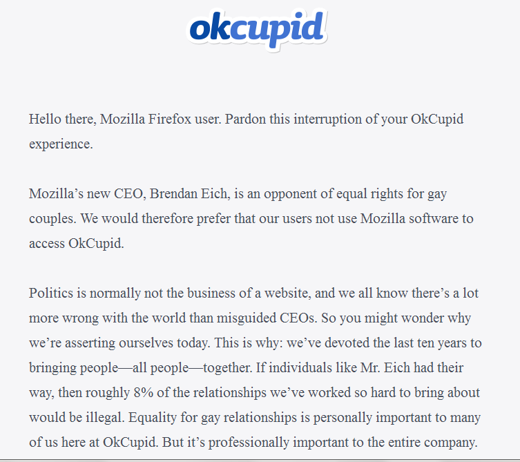RT @steveplrose: Here's why OkCupid do not want you to use their site in Firefox. #LGBT http://t.co/aqvbyV59kx