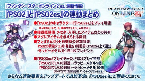 『PSO2es』⇒『PSO2』プレイでレベルに応じて『PSO2es』の「ラッピーメダル」を配布!