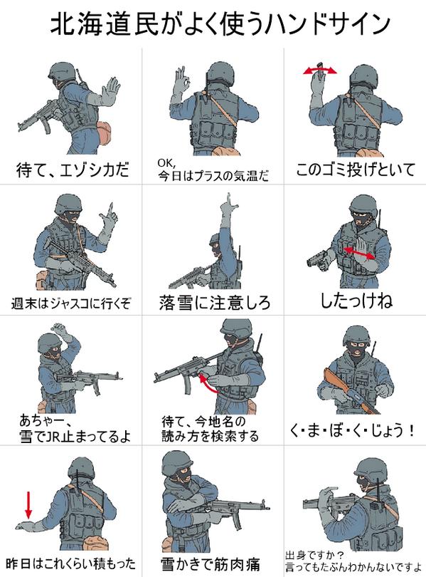 """北海道民がよく使うハンドサイン pic.twitter.com/q9UwtdTCIm""""「出身?〜」は、サイコー‼︎読めないし、書けないし。"""