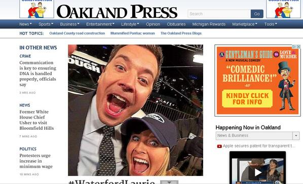 Look who took over @TheOaklandPress !! #WaterfordLaurie  http://t.co/Tz3udyoeCl http://t.co/hHkDN687Jw