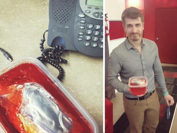 Jello: 1, Account Supervisor's iPhone: 0. No one is safe on #AprilFools. #agencylife #capitalc http://t.co/QPXUTz0SVe