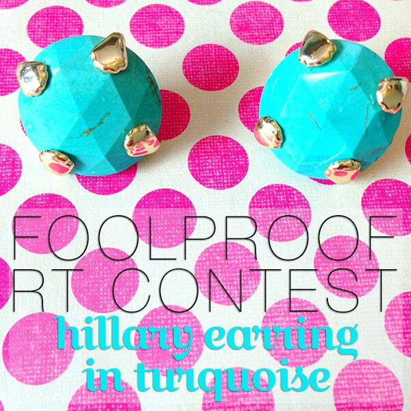 "Now until midnight - enter our ""foolproof"" retweet contest by RT'ing this photo to WIN Hillary Earrings in Turquoise! http://t.co/7nFsx6gO2R"