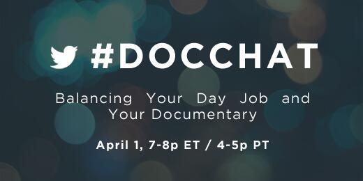 "Welcome to the #docchat! Tonight's topic: ""Balancing Your Day Job and Your Documentary"" http://t.co/SmkWjHqNMB http://t.co/dJt0sgfVS1"