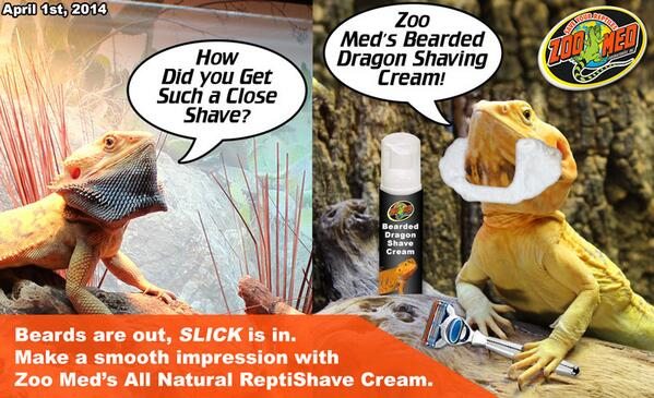 """Introducing Zoo Med's """"NEW"""" All-Natural ReptiShave™ Reptile Shaving Cream! Available today only! ;) http://t.co/i4NzXKY9F0"""