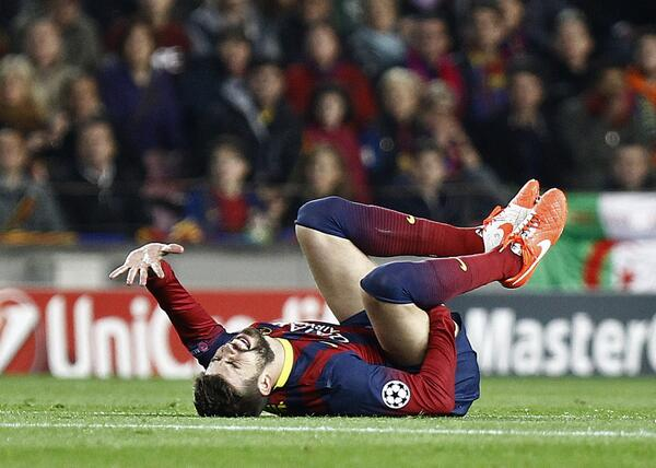 Barcelonas Gerard Pique left the Camp Nou in a wheelchair after cracking his pelvis v Atletico Madrid [Picture]