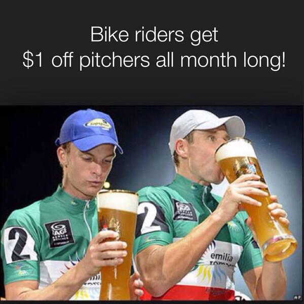 Help us to help @valleymetro celebrate #BikeMonth by spreading the word: $1 off pitchers if you bike to us! http://t.co/T43uSDCBpD