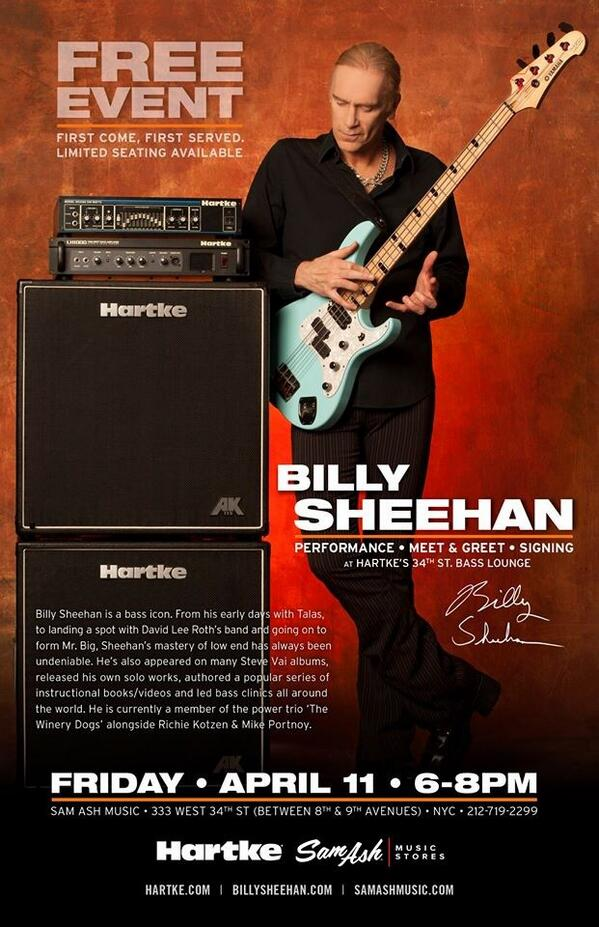 Just announced: Billy Sheehan in