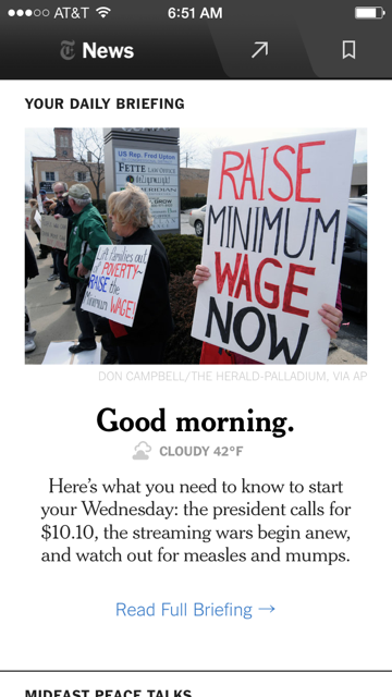 Good Morning. NYT Now, our new iPhone app with daily briefings, is now available: https://t.co/6Z1QqpfCE2 http://t.co/at0oEkIb77