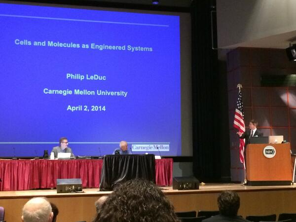 "Session 1 continues with Dr. Philip LeDuc's talk: ""Cells & Molecules as Engineered Systems"" #PhysOnc http://t.co/Em8CgaTa3J"