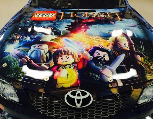 Check out the hood of our No.20 @GameStop/@LEGOtheHobbit Toyota this weekend @TXMotorSpeedway! #ItTakesAVillage http://t.co/sP2Kkoq9JX