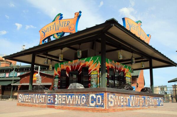 So we thought Turner Field needed some color, I present the @sweetwaterbrew craft beer island. In fan plaza! http://t.co/jBdIUuWz7S