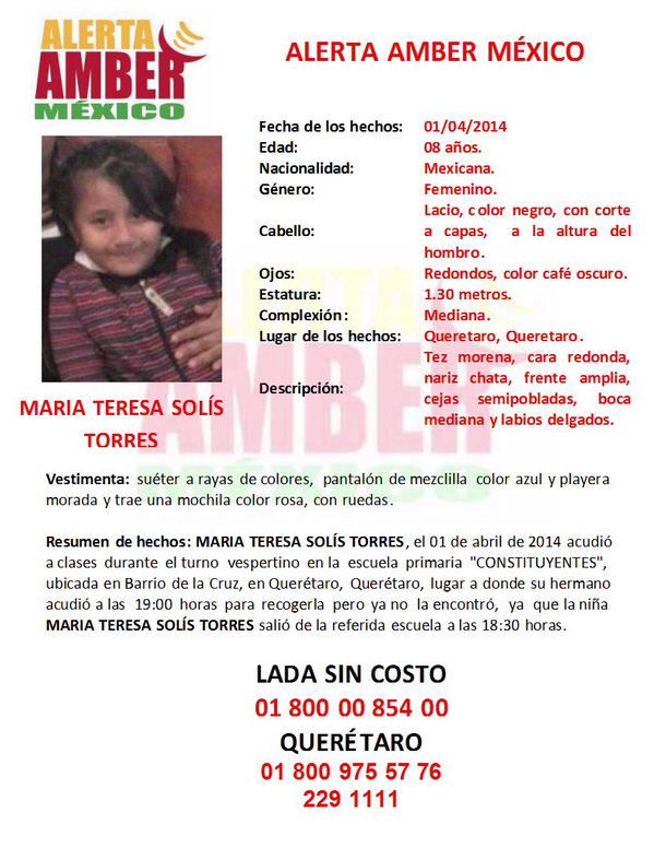 Comparte estos datos y ayuda a difundirlos. Activación de la #AlertaAmber por la menor MARÍA TERESA SOLÍS TORRES http://t.co/eu1VnT9vGn