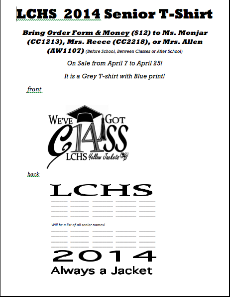Seniors!!  Get ready for your t-shirts!  Come order them next week!  #seniortshirts