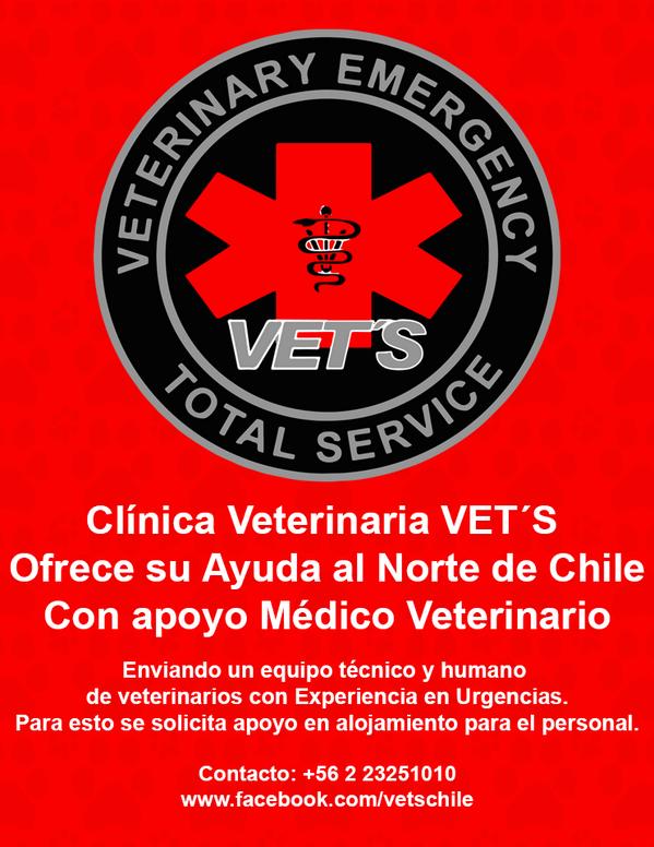 Amigos! Clínica Veterinaria VET´S  expertos en urgencias, va en apoyo al Norte de Chile! Necesitan alojamientos RT! http://t.co/aZIFVvbrBR
