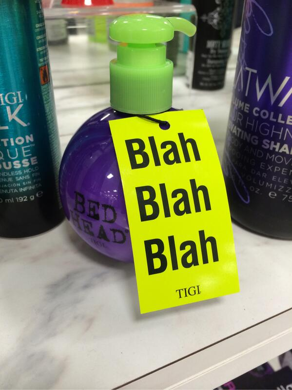 This  Bed Head product may have the most honest label copy ever. http://t.co/rYRWOCZEC1