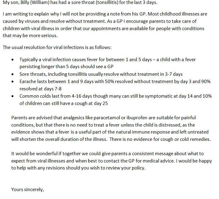 RT @mellojonny: Letter to school about policy of asking parents for a Doctor's note after 2 days of illness. Feel free to share http://t.co…