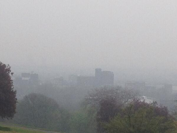 North London viewed through the smog from Ally Pally. @itvlondon http://t.co/vyzxZ874fq