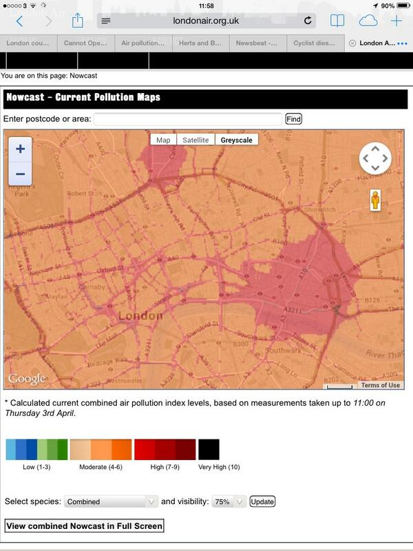 London pollution map via @londonairnow . Worse than yesterday. Note highest on main roads ie caused by traffic http://t.co/Pok9Xf0B3y