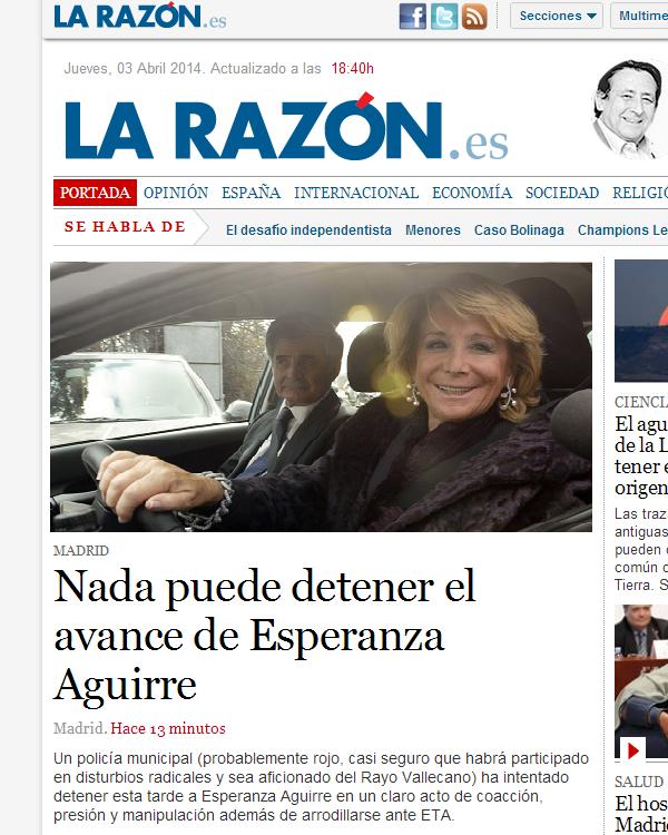 """Breaking news: """"Esperanza Aguirre arrolla la moto de un agente y se da a la fuga"""".. BkT9DUmCUAAiT_p"""