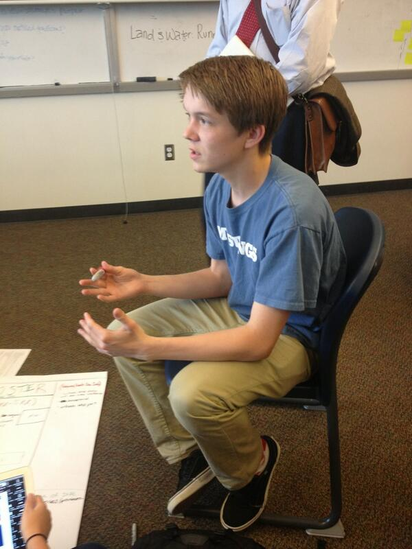Patrick explains how he uses quantitative math skills in his group project to minimize effects if run-off pollution http://t.co/P3hKWcsz9x