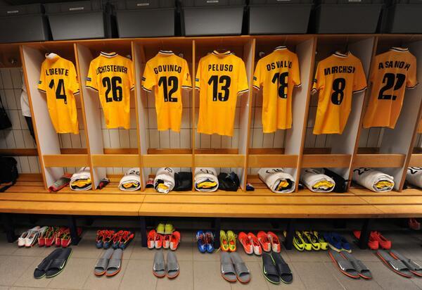 Foto Juventus: lo spogliatoio della Vecchia Signora che oggi gioca con la maglia gialla (Fonte: UEFA)
