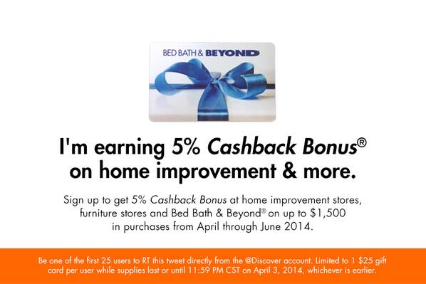 Be one of the first 25 to RT to win a $25 Bed Bath & Beyond® gift card. #ItPaysToDiscover http://t.co/WyiZwQFTWE