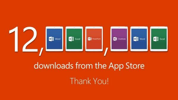 More than 12 million downloads of Word, Excel, PPT & OneNote for #iPad from the @AppStore <3 #OfficeforiPad http://t.co/iT2egNPDkj