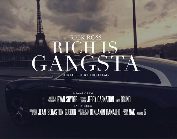 "Stay tuned for world premiere of @rickyrozay new video ""RICH IS GANGSTA"" off #MASTERMIND album!! (@DREfilms, dir.) rt http://t.co/wcNJA8eLYu"