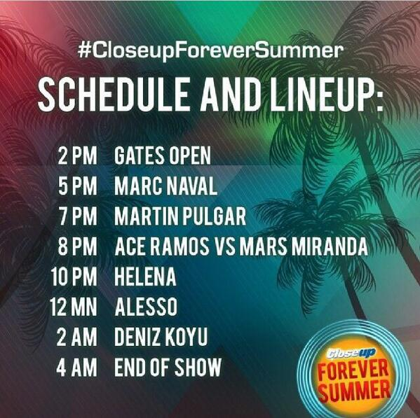 Take note because you're not gonna want to miss a single moment with a DJ lineup like that! #closeupforeversummer http://t.co/DVIZNXMayD