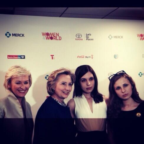#WitW14 green room w/ #PussyRiot & Hillary! http://t.co/i1D3odCdBM